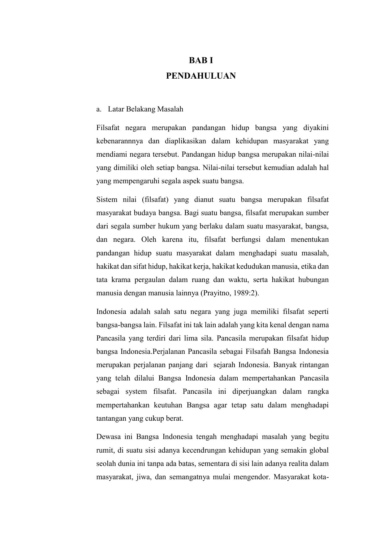 Makalah Pancasila Sebagai Dasar Filsafat Negara Indonesia