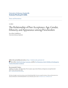 the relationship of peer acceptance, age, gender, etc