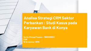Evaluating of CRM Analytics in Banking Sector
