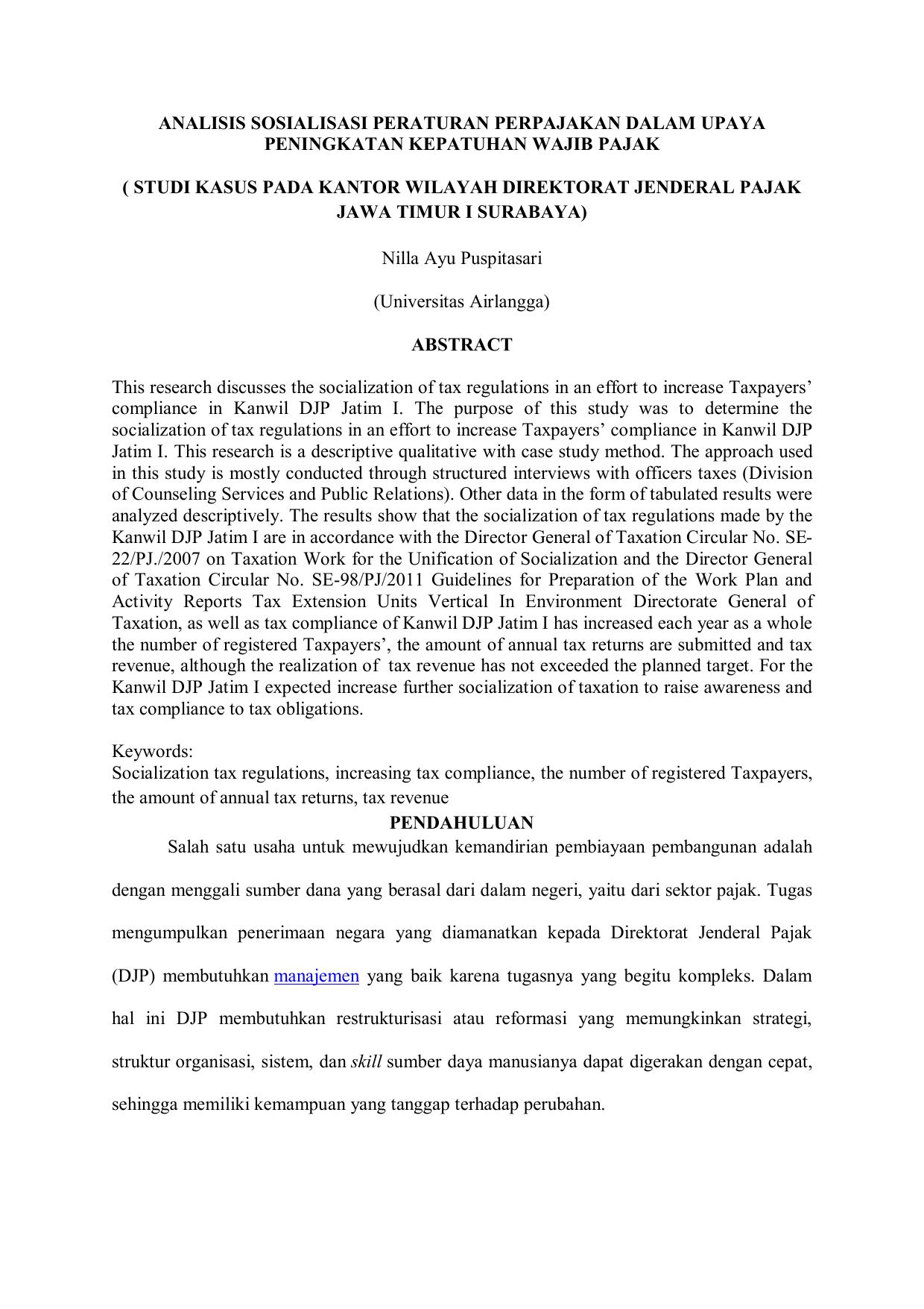 Jurnal Analisis Sosialisasi Peraturan Pe