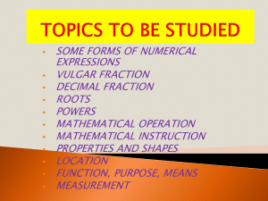 TOPICS TO BE STUDIED-1