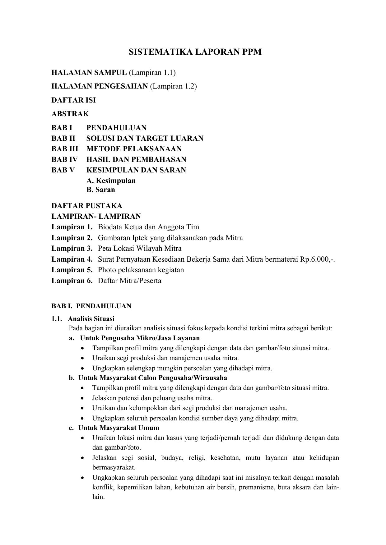 Kelas 2b2154el Contoh Format Laporan Ppm