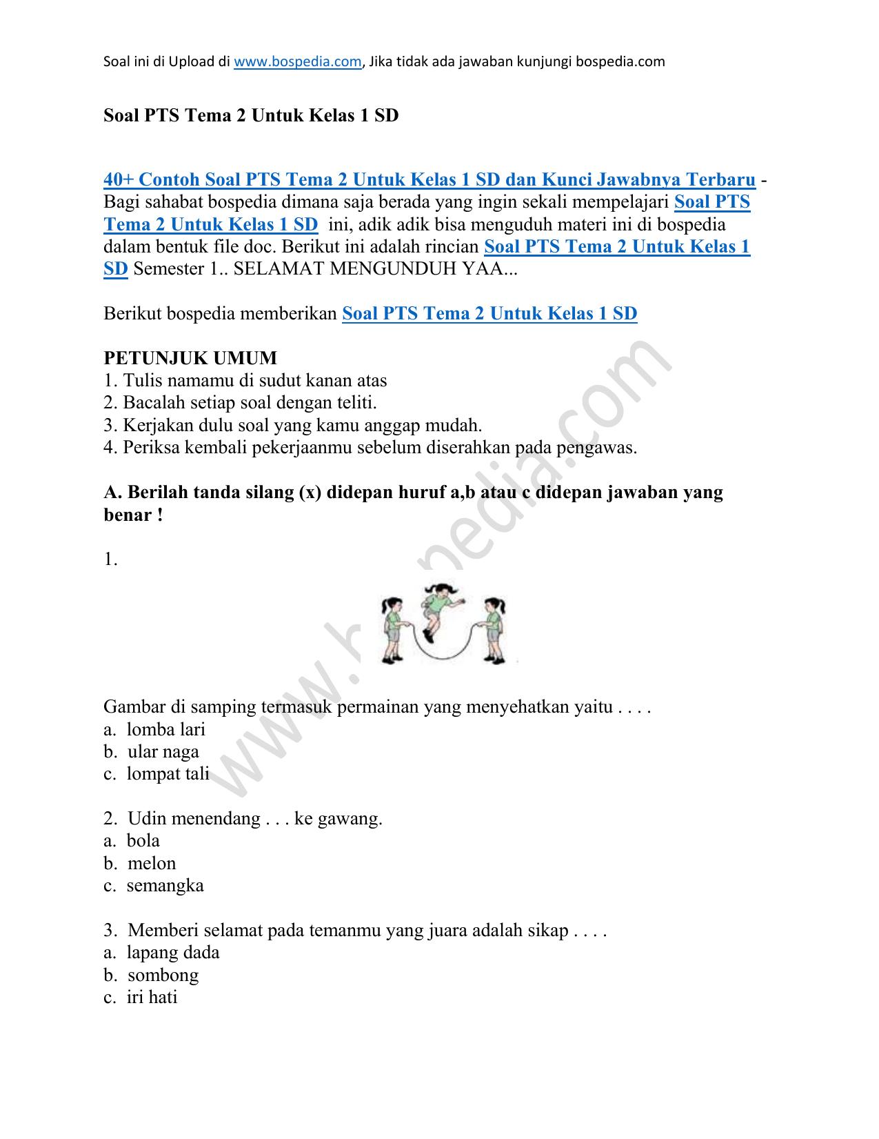 40 Contoh Soal Pts Tema 2 Untuk Kelas 1 Sd Dan Kunci Jawabnya