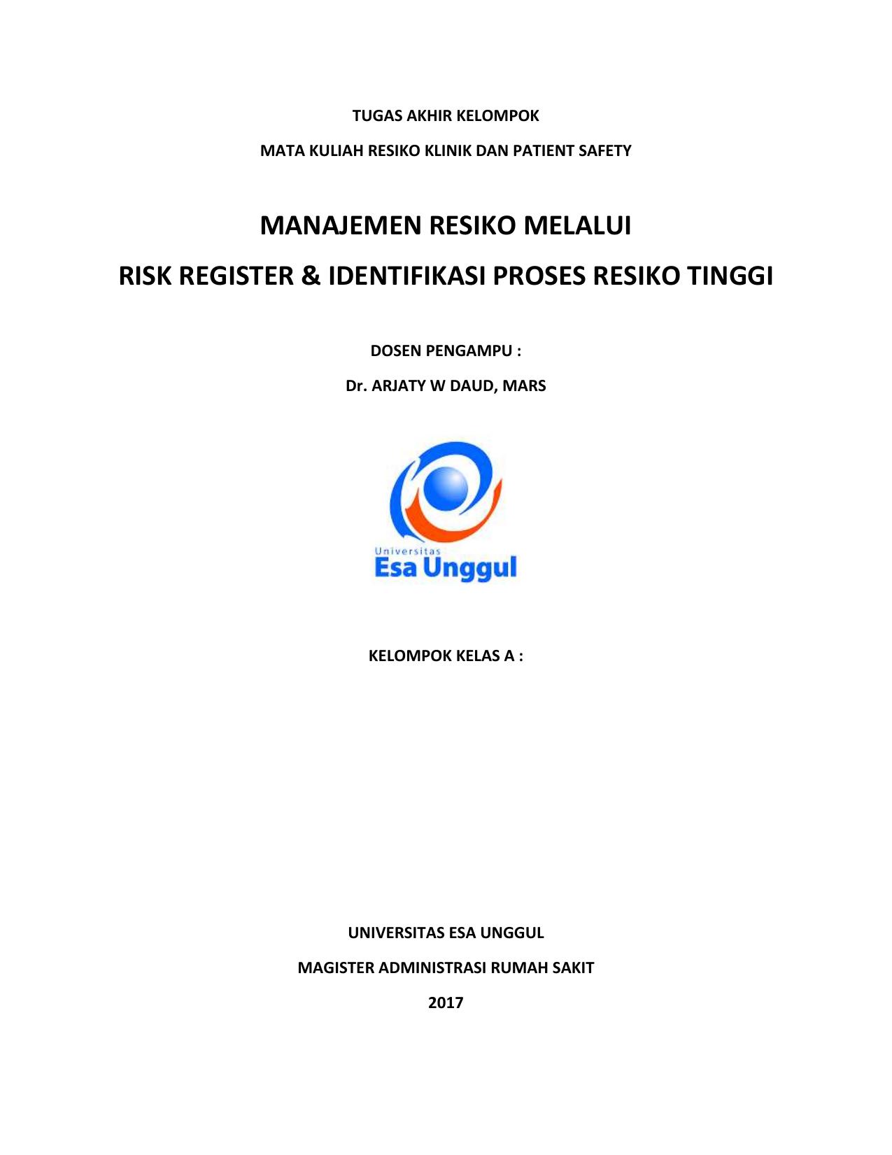 Makalah Manajemen Resiko Risk Register Tugas 1