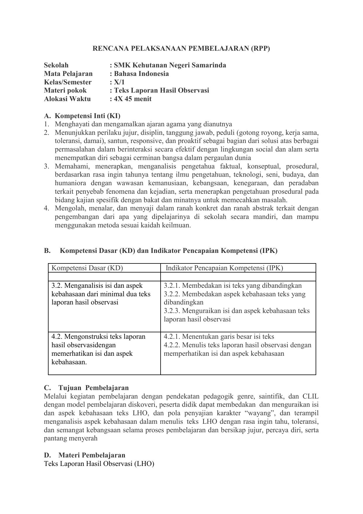 Rpp B Indo Kelas 10 Rev 2018 3 2 Dan 4 2 Teks Laporan Hasil Obervasi