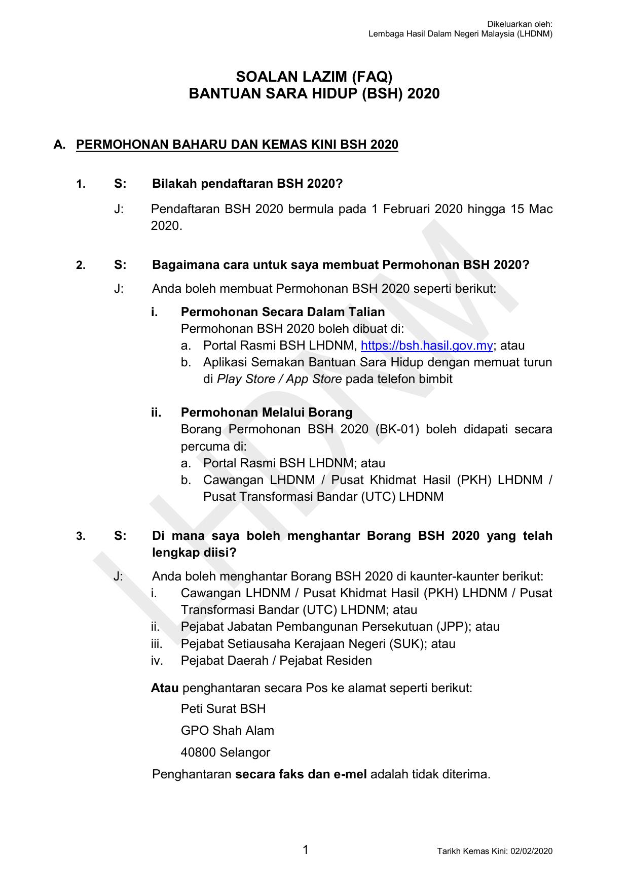 Bsh2020 Faq Permohonan Baru Dankemaskini