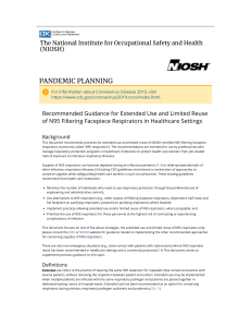 CDC - Recommended Guidance for Extended Use and Limited Reuse of N95 Filtering Facepiece Respirators in Healthcare Settings - NIOSH Workplace Safety and Health Topic