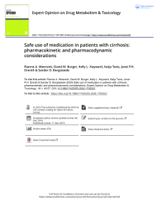 Safe use of medication in patients with cirrhosis pharmacokinetic and pharmacodynamic considerations