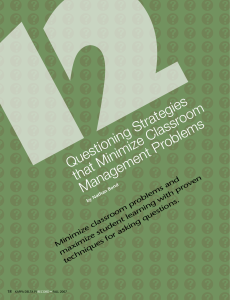 12 Questions That Minimize Classroom Mgmt Problems