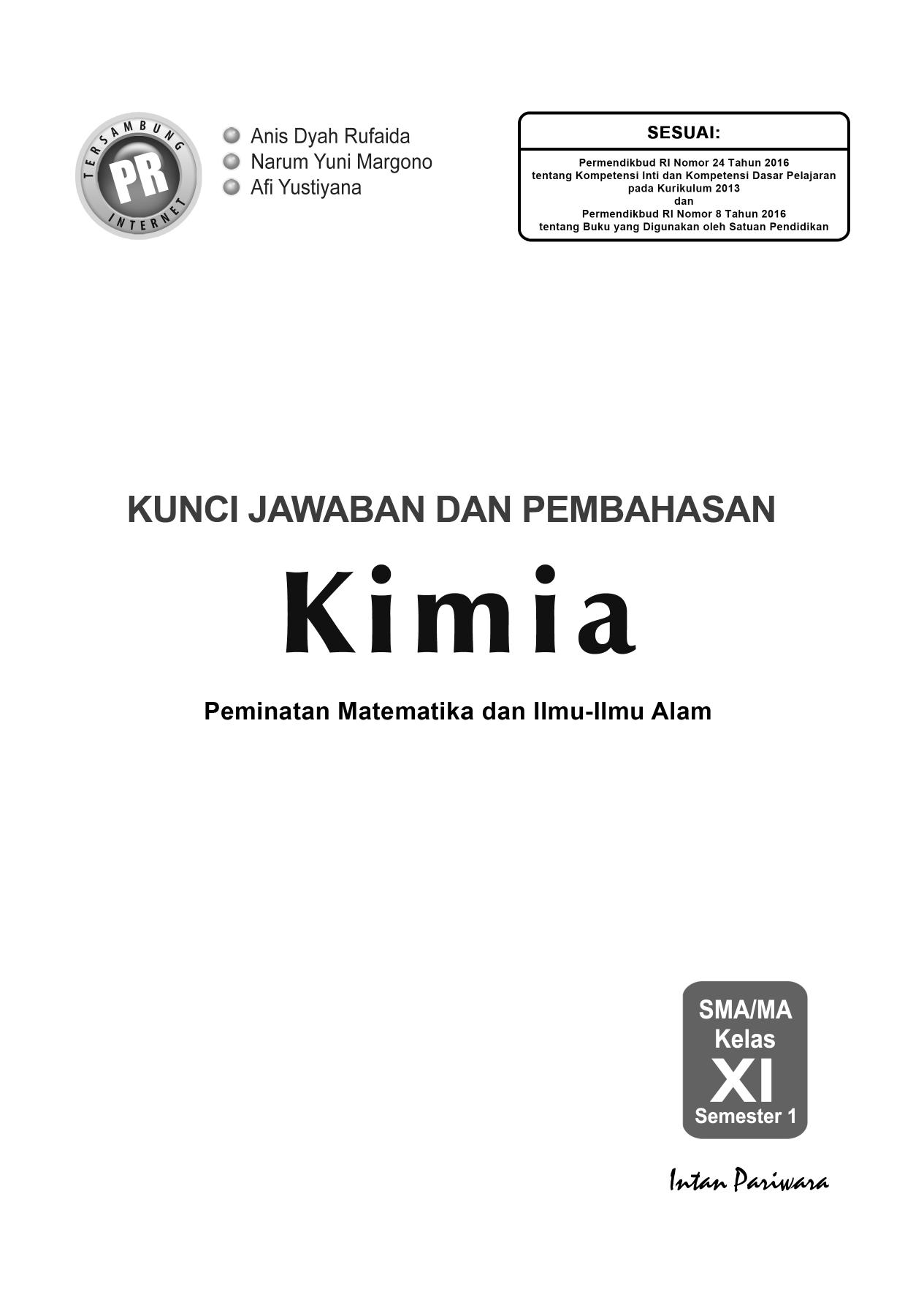 01 Kunci Kimia 11a K 13 Edisi 2017