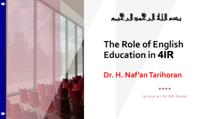 The Role of English Education in the 4 industrial revolution nafan