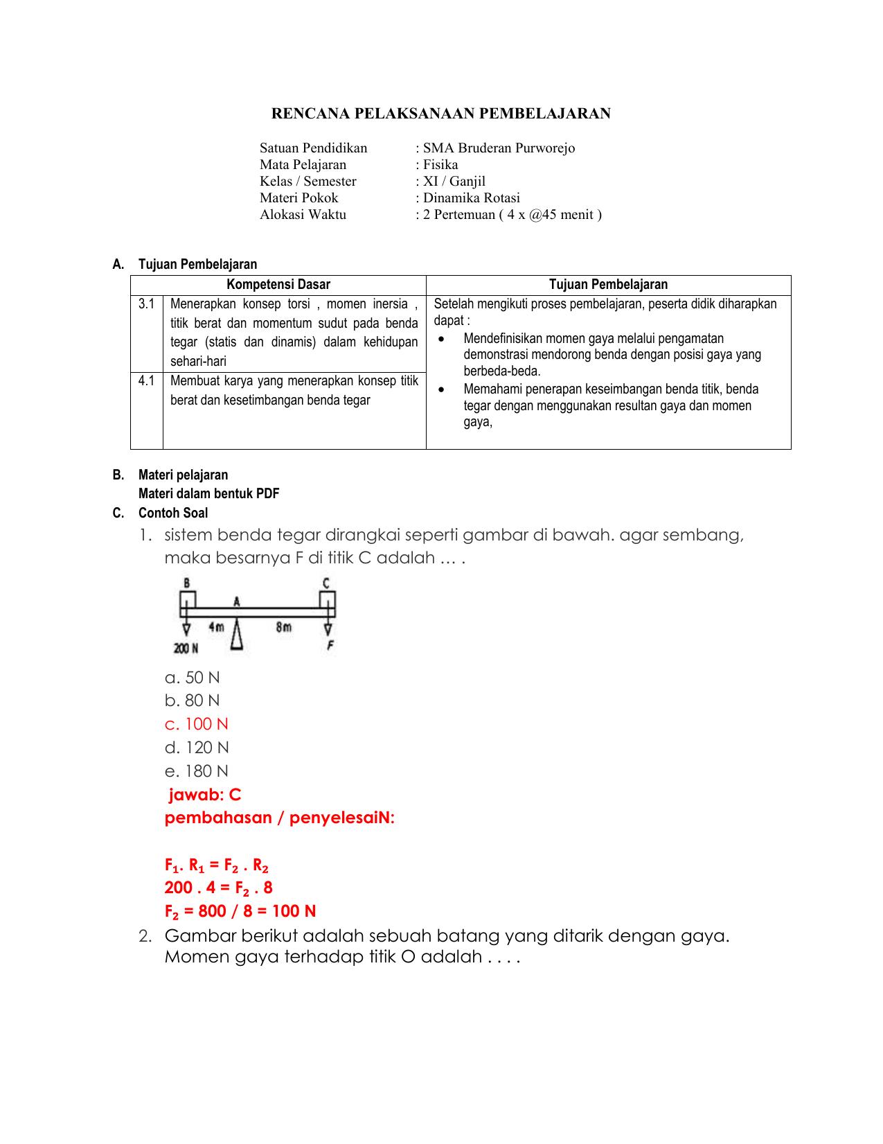 Rencana Pelaksanaan Pembelajaran 1m Daring Xi Mipa Smt 3