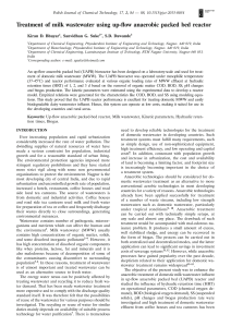[18994741 - Polish Journal of Chemical Technology] Treatment of milk wastewater using up-flow anaerobic packed bed reactor