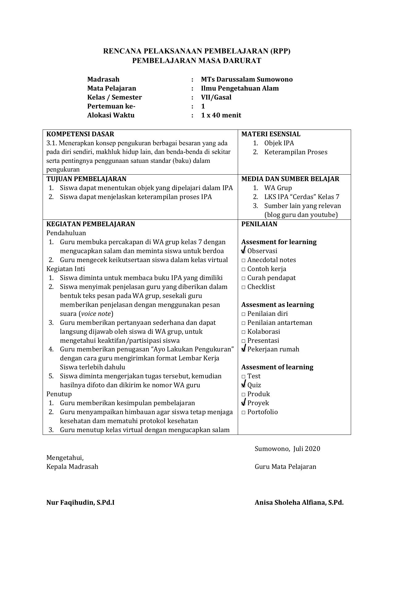 Contoh Rpp Daring Ipa Kelas 7