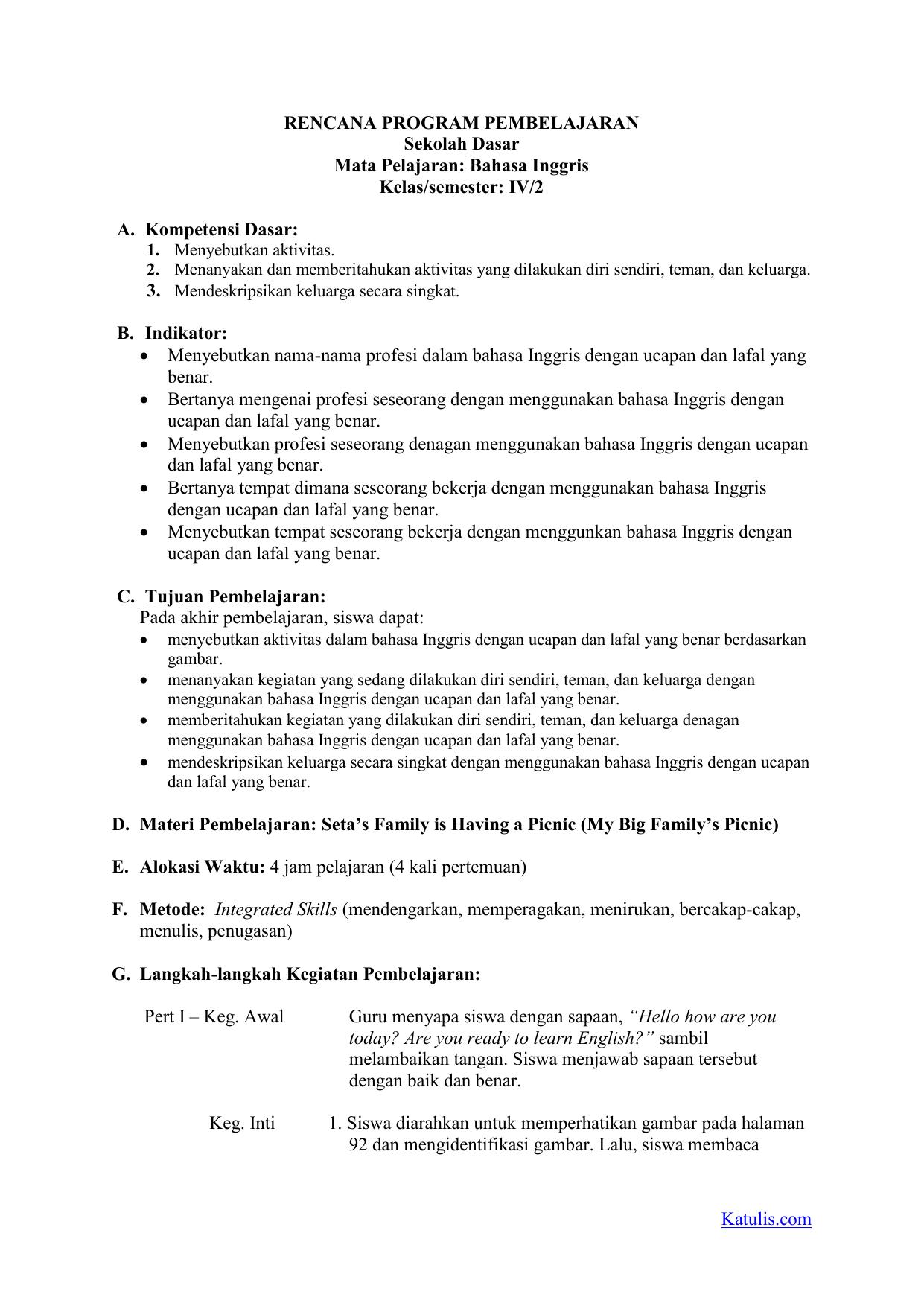 Rpp K13 Bahasa Inggris Kelas 4 Semester 2 Revisi 2019 Katulis Com