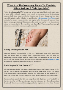 What Are The Necessary Points To Consider When Seeking A Vein Specialist