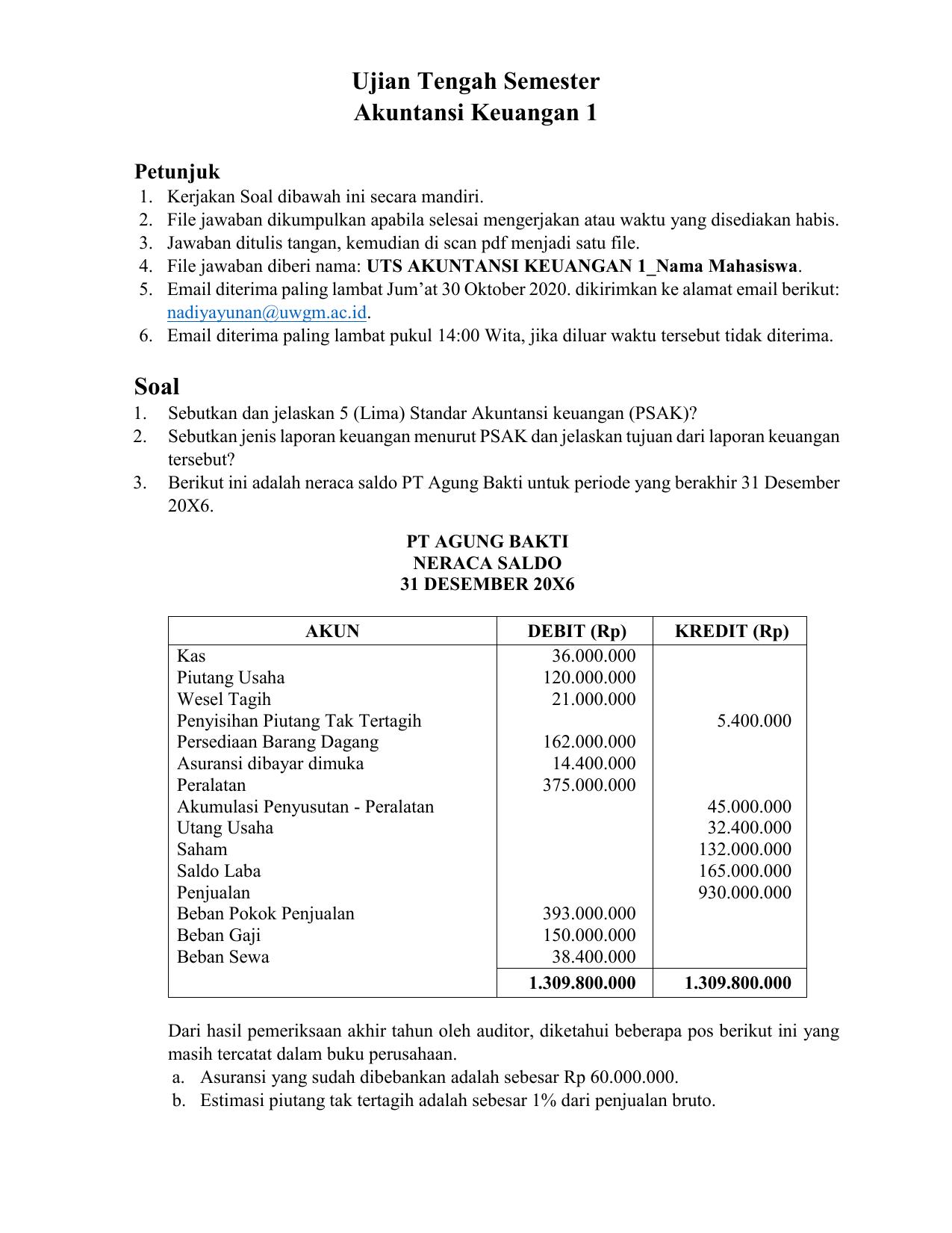 Soal Uts Akuntansi Keuangan 1