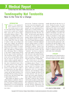 Tendinopathy Not Tendonitis  Now Is the Time for a.10