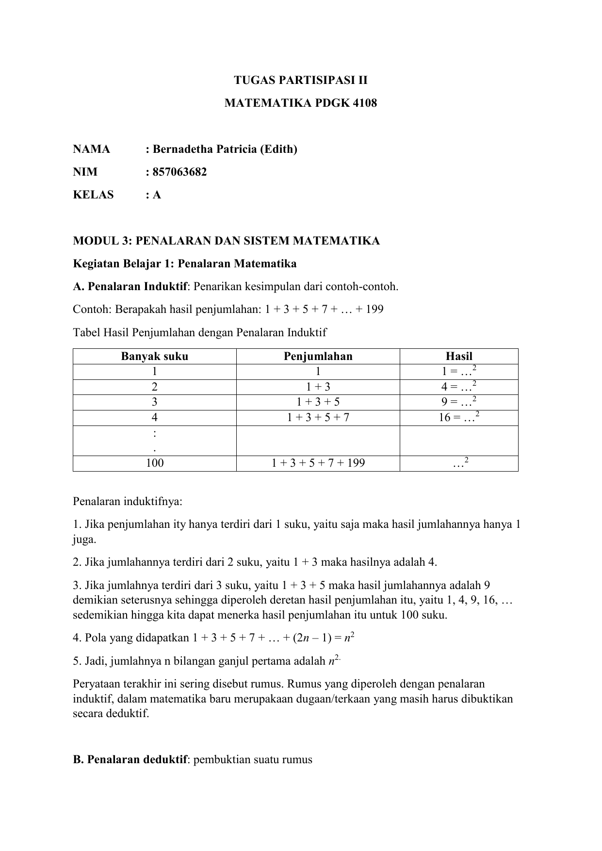 Tugas Partisipasi Ii Matematika Bernadetha 857063682 Kelas A