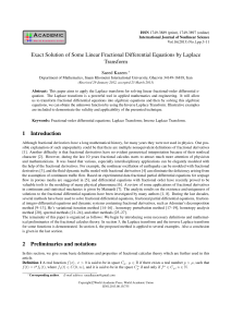 IJNS Vol 16 NO 1 Paper 1 Exact Solution of Some Linear Fractional Differential Equations by Laplace Transform
