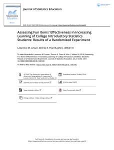 Assessing Fun Items Effectiveness in Increasing Learning of College Introductory Statistics Students Results of a Randomized Experiment
