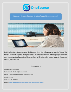 Windows Remote Desktop Services Texas | Onesource.tech