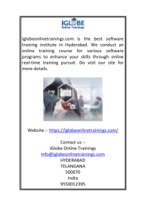 Best Online Software Training Institute in Hyderabad  Iglobeonlinetrainings.com