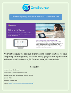 Cloud Computing Companies Houston | Onesource.tech