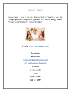 Skin Testing Clinic in Westford MA  Allergy West