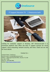 IT Support Houston TX  | Onesource.tech