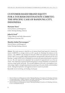 Customer-based Brand Equity for a Tourism Destinat