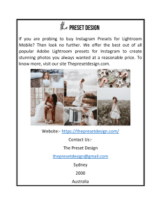 Buy Adobe Lightroom Presets  The Preset Design