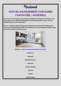 Rental Management Companies Vancouver  Bodewell