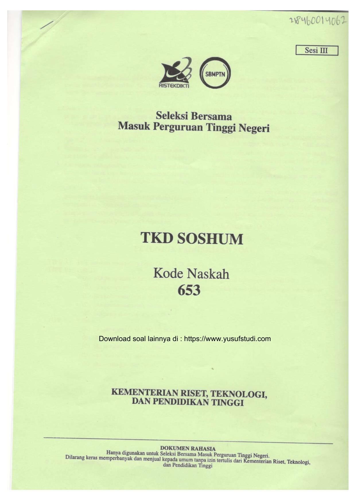 Soal Sbmptn 2018 Soshum Kode 653 Yusufstudi Com
