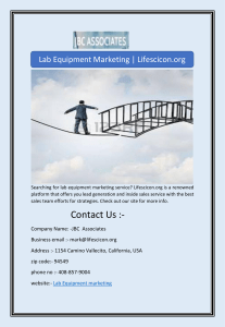 Lab Equipment Marketing | Lifescicon.org