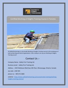 Certified Working at Heights Training Course in Toronto