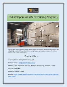 Forklift Operator Safety Training Programs